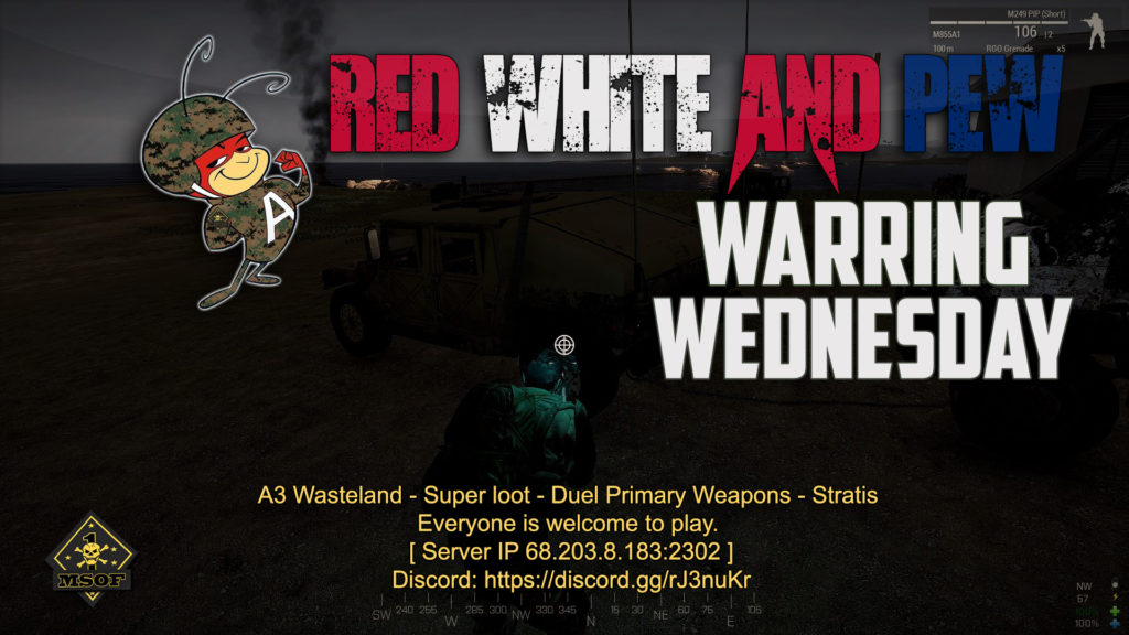 """Warring Wednesday on A3 Wasteland! Join In for some Wednesday night A3 Wasteland. Join us at """"A3 Wasteland - Super loot - Duel Primary Weapons - Stratis"""" Everyone is welcome to play"""